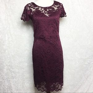 ✨SEXY✨ Dark Red Lace Cap Sleeve Bodycon Dress